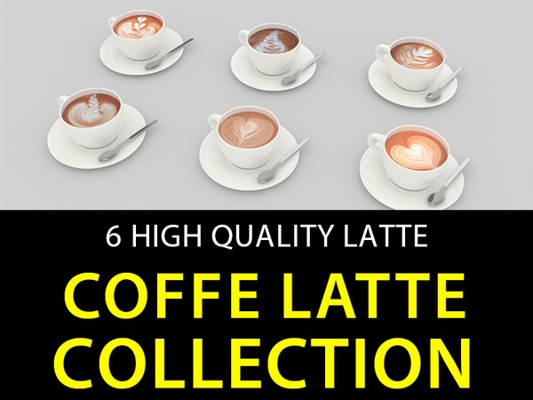 coffe latte 6 3d model