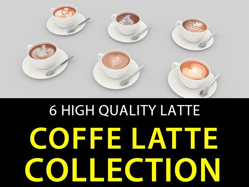 coffe latte 6 3d model