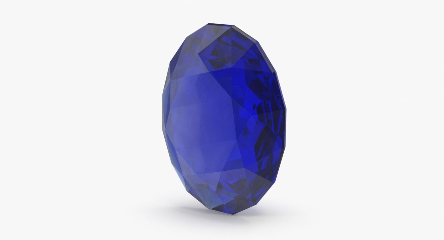 3d oval sapphire model