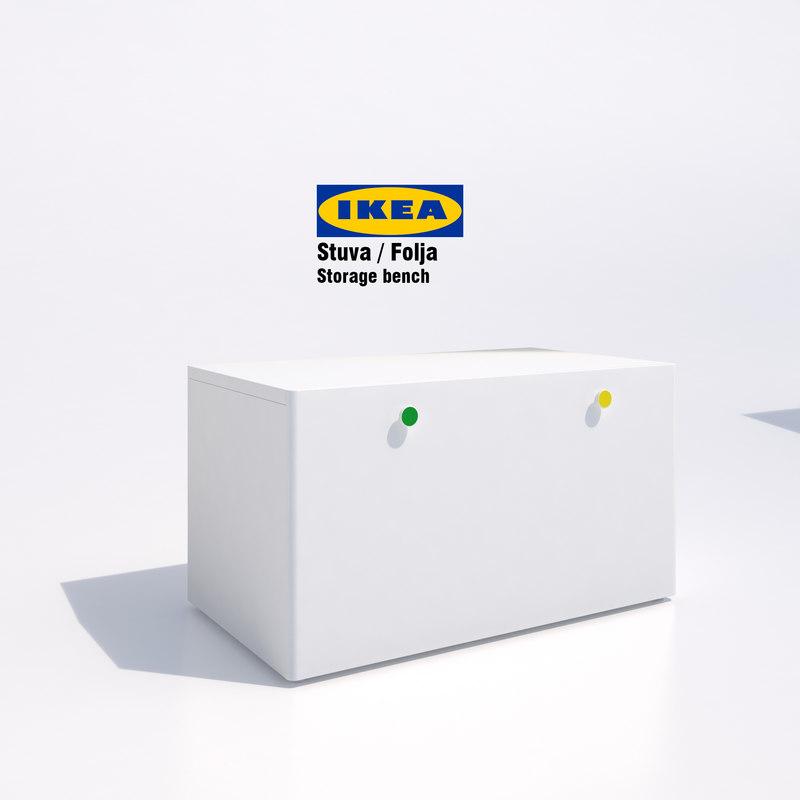 ikea folja storage bench 3d max