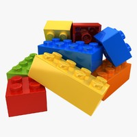 realistic lego bricks pose 3d 3ds