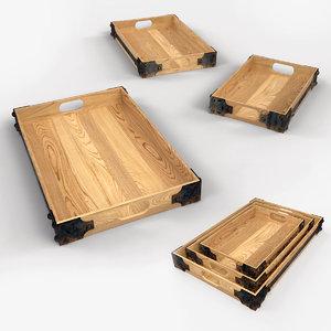 rustic wooden tray 3d max