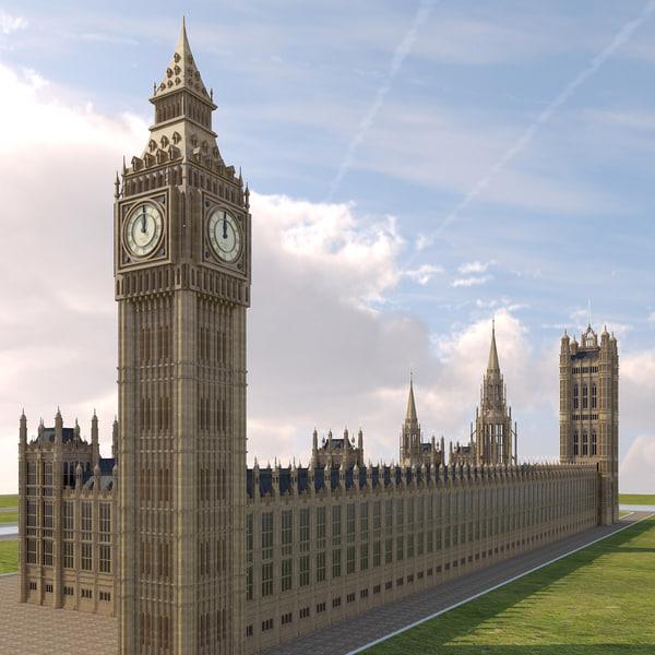 big ben westminster palace obj