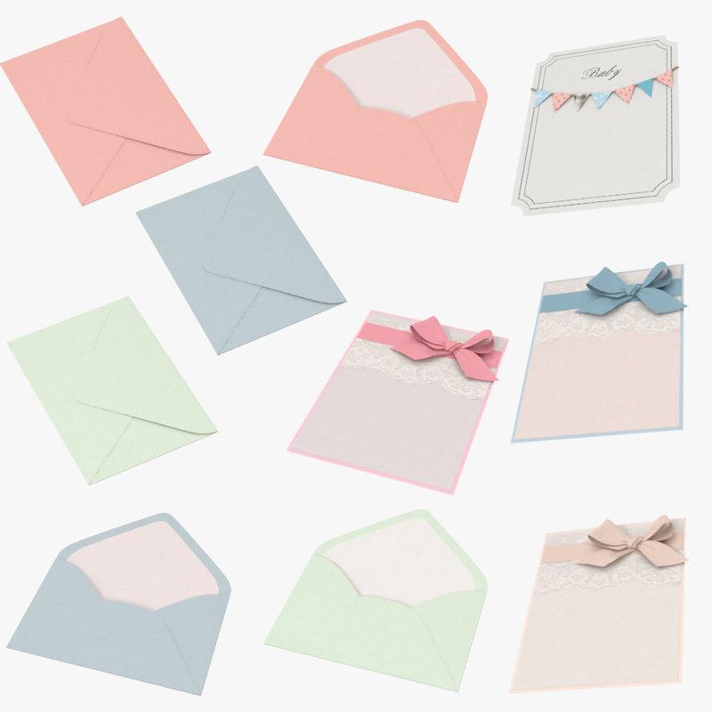 baby shower envelopes invitations 3d model