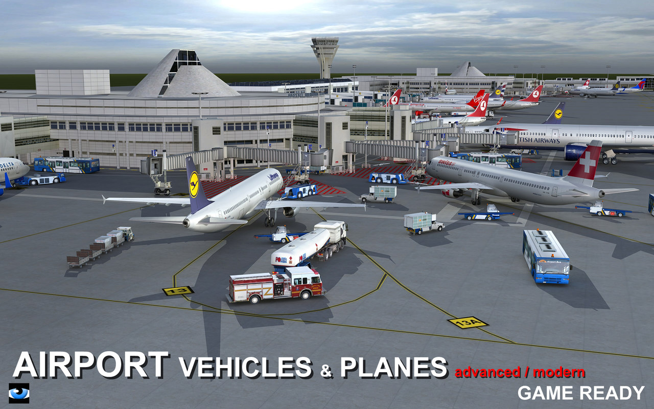 3d model of airport vehicles planes air