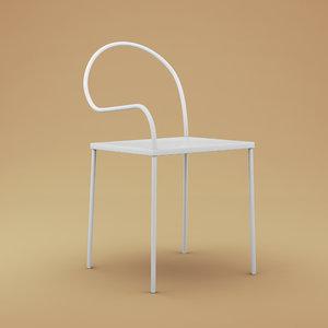 nendo softer steel chair design 3d model