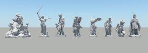 roman figure colection 01 3d model