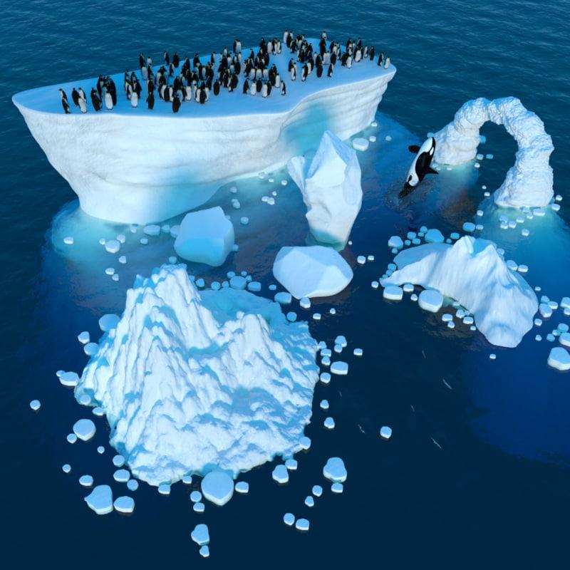 scene penguin killer 3d obj