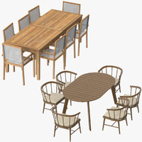 patio dinning tables chairs 3d model