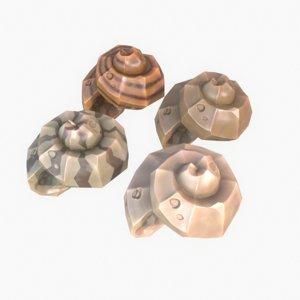 cartoon shell obj