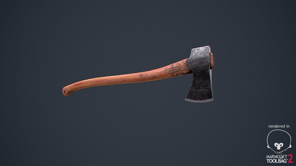 old steel wood axe 3d obj