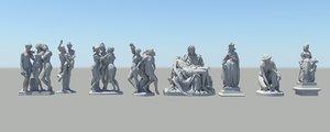 3d model roman figure colection 02