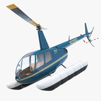 Helicopter Robinson R44 With Floats Rigged 3D Model