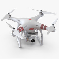 DJI Phantom 3 Professional Quadcopter Red 3D Model