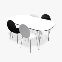 modern table chairs 3d c4d