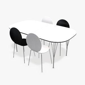 modern table chairs 3d c4d
