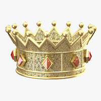 3d crown queen gold