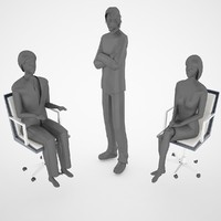 free obj model chair humans 1