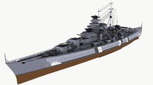 3d max bismarck battleships ship