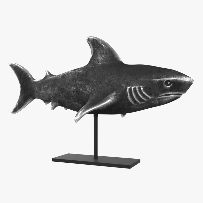 3d metal shark figurine stand model