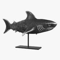 3d metal shark figurine stand model