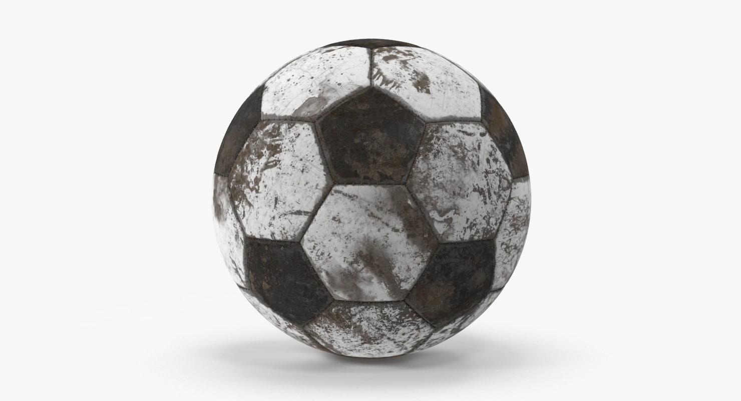 soccer ball dirty 3d model