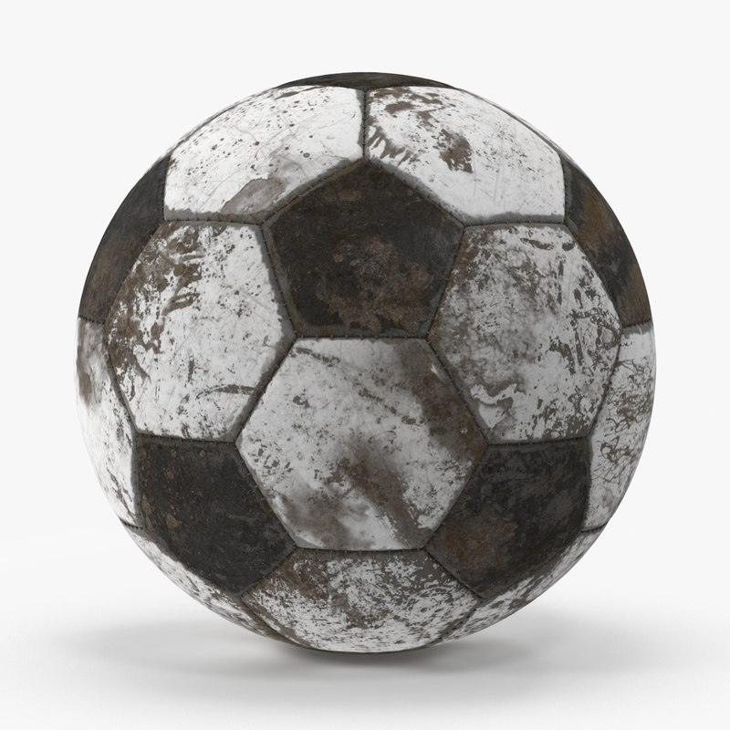 soccer ball dirty 3d model