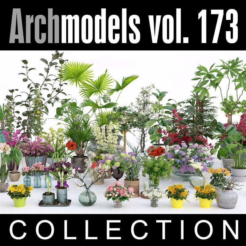 archmodels vol 173 flowers 3d max