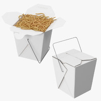 Chinese Takeout Box Closed and Open With Noodles