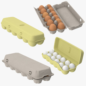 egg containers open closed 3d obj