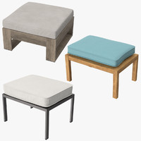 3d model outdoor ottomans square