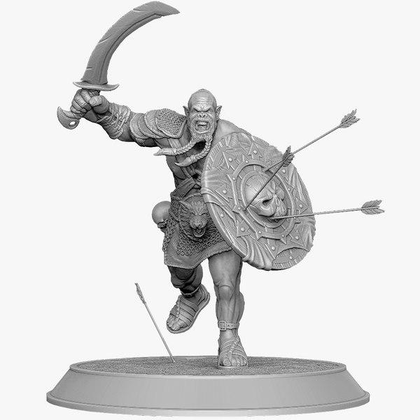 orcs berserker attacks fantasy character 3d 3ds