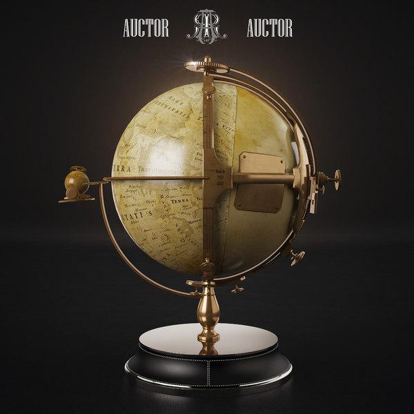lunar globe art auctor 3d model
