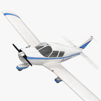 Civil Utility Aircraft Piper PA 28 Cherokee Rigged 3D Model