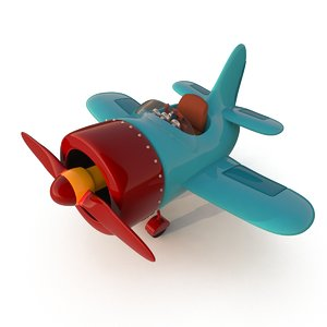 stylized cartoon plane 3d model