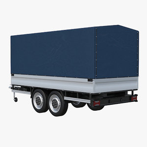 two-axle cargo trailer 3ds