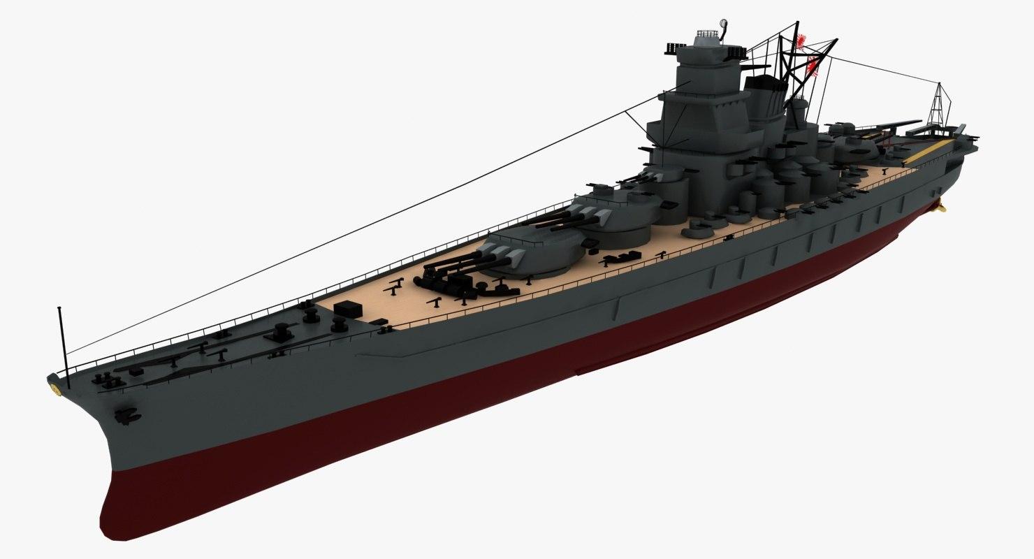yamato ship battleships battle 3d model