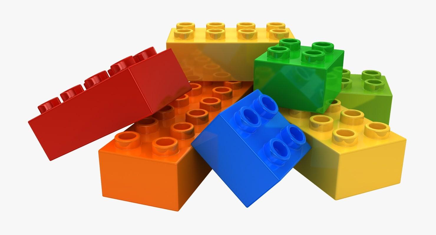 realistic lego bricks 2 3d model