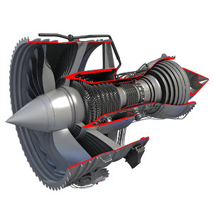 3d 3ds jet turbofan engine cutaway