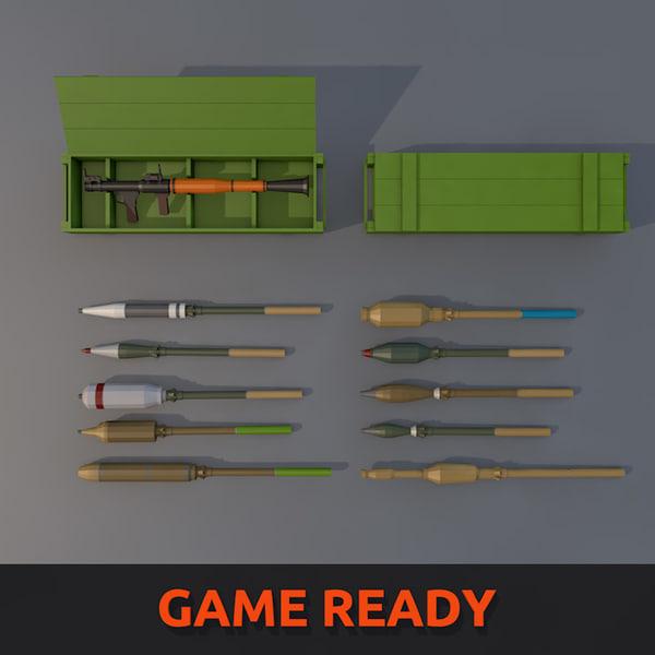rpg-7 grenade launcher 3d 3ds