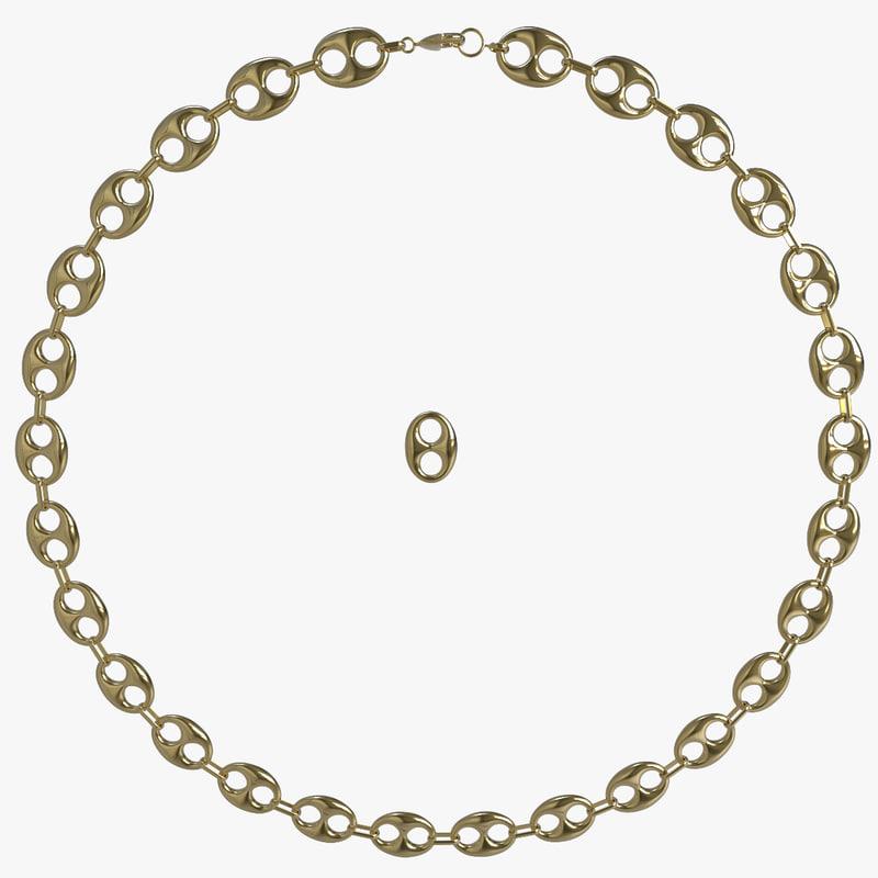 gold bean chain 3d max