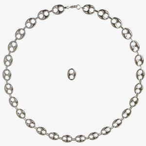3d max silver bean chain