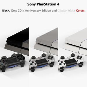 sony playstation 4 black 3d obj