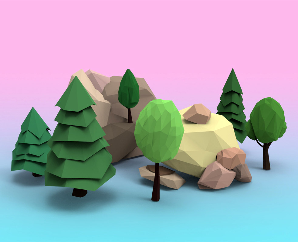 rocks trees 3d model