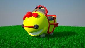 3d model funny cartoon plane