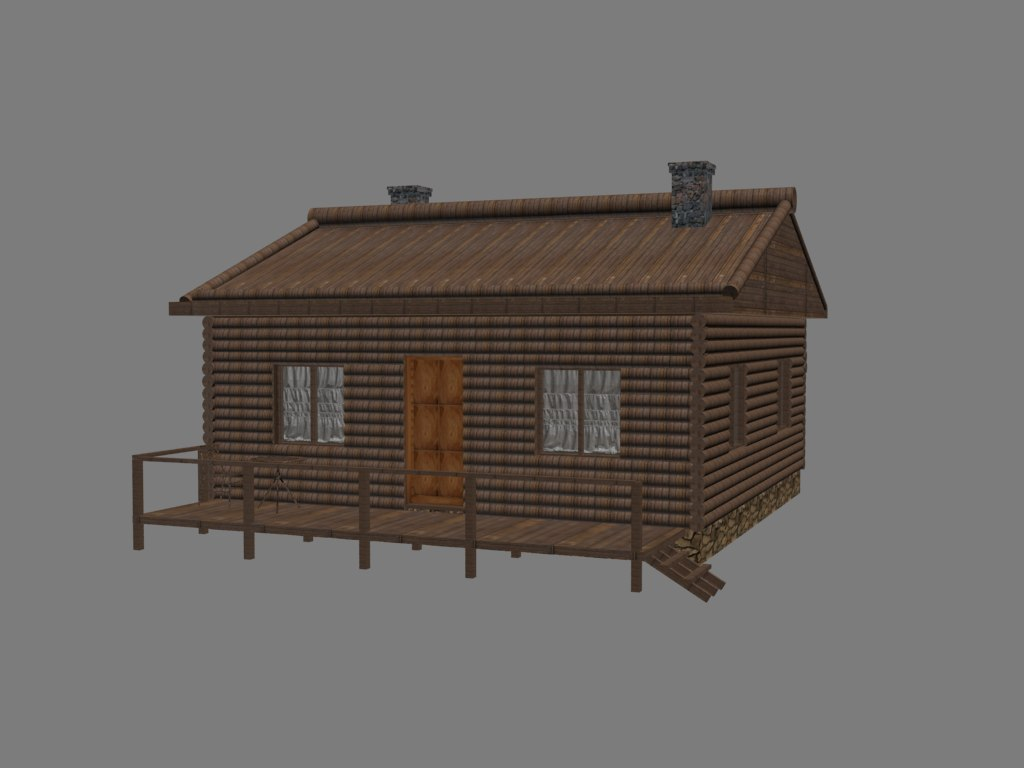3d wooden mountain house model