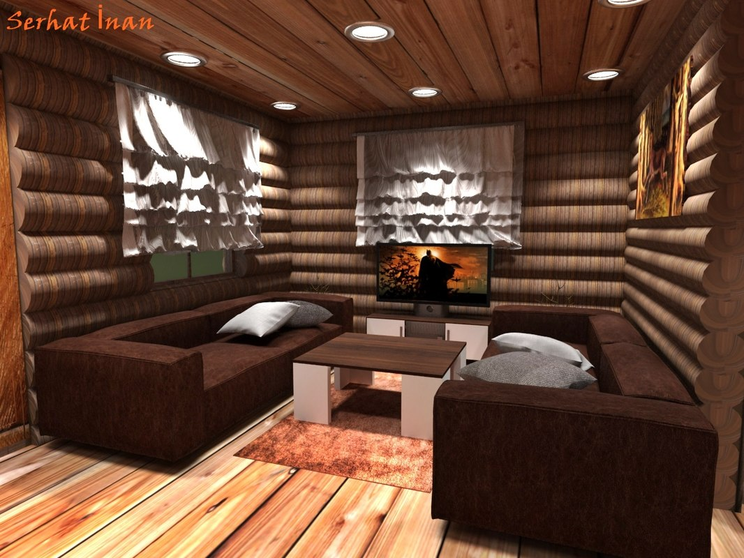 wooden house interior 3d max