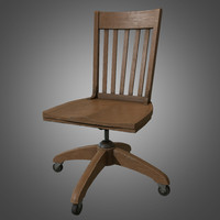 wooden desk chair - 3d model