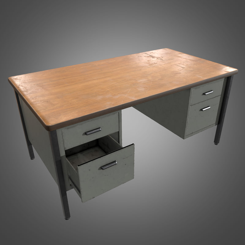metal office desk - 3d model