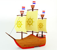 3d netherlands boat polys model